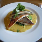 Seabass with a peanut, ginger, and lemongrass sauce.