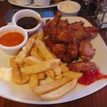 chicken wednesday spicy wings and chips. LOVELY :)
