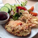 Yummy crab salad, though bread roll was super dull