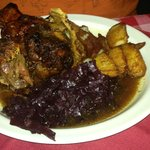 Pork knuckle (huge) with potatoes & warm red cabbage