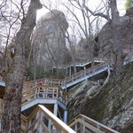 the many stairs to Chimney Rock Lookout