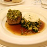 Veal with pistachios and Marsala sauce with side of zucchini and ricotta