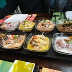 Ceviches - degustación - clásico de pescado, mixto, nikei y atigrado