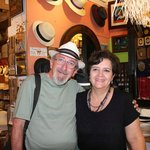 My new Panama hat and the lovely woman who custom fit it for me.