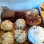 Sticky bun, cinnamon bun, scones and brownies (vegan options as well)