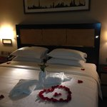 Thoughtful touch for anniversary stay - rose petals