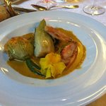 Redfish with squash blossom and fennel with saffron sauce