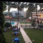 lawn and pool at hotel africana