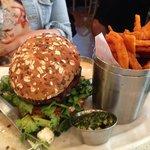 custom burger and sweet potato fries