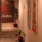 Hallway with local art