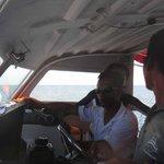 Skipper and crew members on board