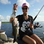Happy bass fishergirl