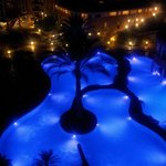 The pool lighting changes color!