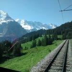 Wonderful train ride from Grutschalp to Murren