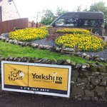 Building up to the Tour de France. A beautiful floral display.