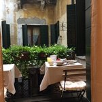 breakfast overlooking a small courtyard