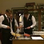 3 waiters were working on our Crepes Suzette