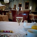 champagne at the breakfast buffet