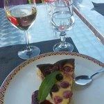 Chardonnay and cherry tart