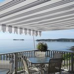 Patio Eating Area and View of the Bay of Fundy