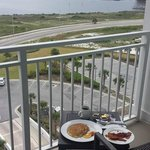 Room service breakfast and view from our balcony