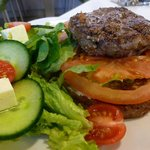Burger - homemade pattie and served the way we like it on rye bread