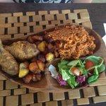 Jollof rice, Plantain, fried chicken