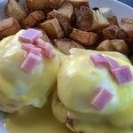 Eggs Benny, could do without the ham chop top...parsley, anyone?
