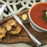 Tomato soup and sundered tomato scones