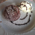 My Kids' Dessert (chocolate cake with gelato) after dinner at Hotel Oli