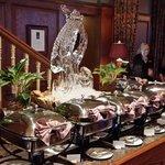 Seafood buffet, ice sculpture!