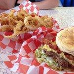 Cadillac burger and onion rings. Yum!