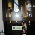 In room liquor:  gin, brandy, vodka, white rum