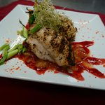 Our Newest Entree Special, Grilled Grouper with a Vodka Lemon Raspberry Sauce.  Available this w
