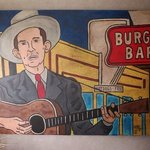Hank Williams on his last ride in front of the Burger Bar