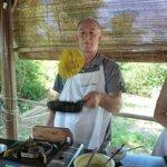 Flipping the egg pancake