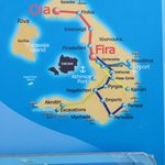 map of island. Our hotel is in Fira, Oia is 20 min bus ride.