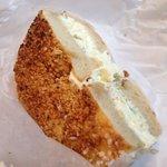 Garlic bagel toasted with scallion cream cheese