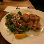 The Scallop & the Hog - Scallops wrapped in smoky bacon, pan-seared & served with a rocket