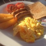 The Irish breakfast at the hotel restaurant. $4.50 approximately