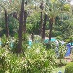 Vue de la chambre sur espace piscine
