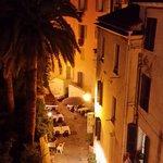 cozy street below at night