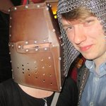 Trying on the medieval equipment in the markets!