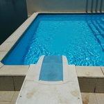 The high chlorine plunge pool, avoid skin contact