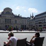 Local square / expensive cafe scene