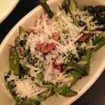 roasted asparagus with Romano cheese