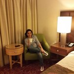 Courtyard Marriott room 1112, 15.06.2014. Wife relaxing with a cup of coffee.