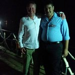 Dan with Esham the night time security guard on the hotel jetty