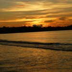 sunset on the hotel beach