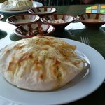 fresh made hot pitta bread and dips